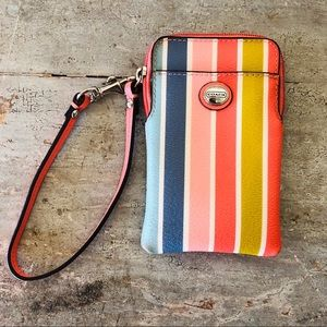 ♥️ Coach ♥️ Striped Leather Wristlet Wallet